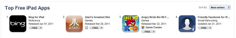 Bing for iPad in the #1 slot for Top Free iPad Apps