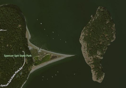Aerial photograph of Spencer Spit State Park showing the triangular beach.