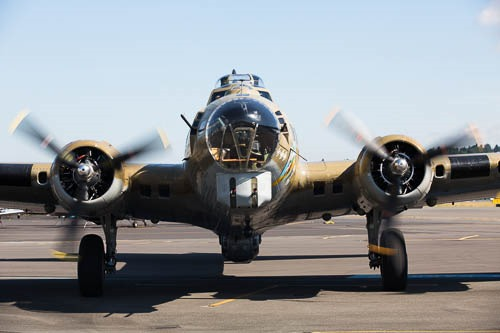 Head on view of B-17G Nine-O-Nine