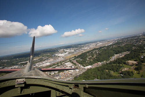 A shot of Boeing Field and the B-17's tail from the top hatch.