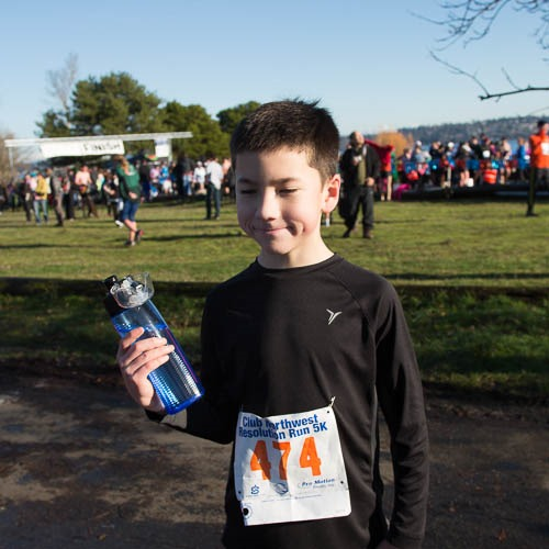 Michael after the race, holding his water bottle.