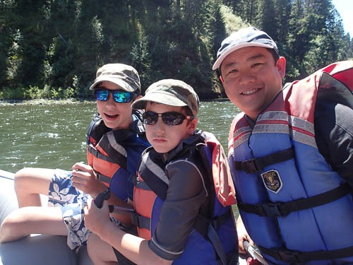 Andrew, Michael, and me on the river