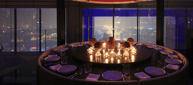 Table and view from the China Grill in Beijing.