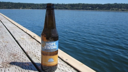 A bottle of Redhood Rope Swing beer on a dock by the water on a sunny afternoon.