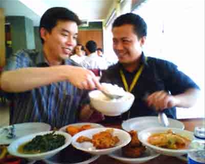 Hermawan and Risman at lunch