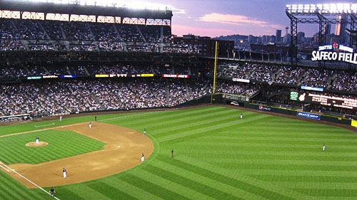 Safeco Field at sunset.
