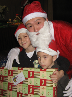 Andrew and Michael with Santa.