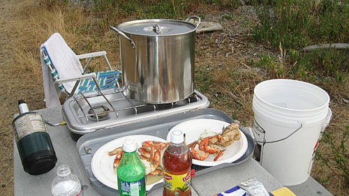 A big silver pot on a camp stove with plates of crab legs in front, all on a picnic table.