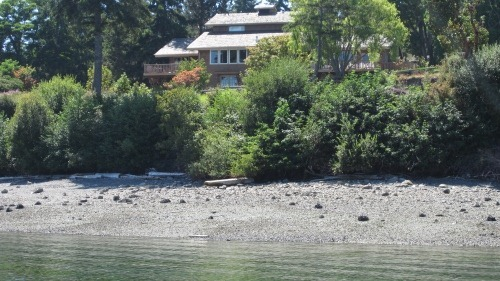 A two story brown house in front of a row of trees and a rocky beach.