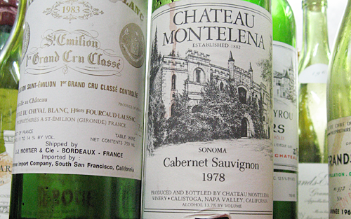 1978 Chateau Montelena wine bottle next to a 1983 St. Emilion.
