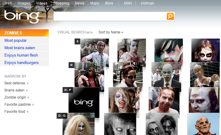 Zombie Visual Search by Bing