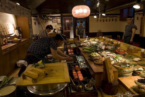 Chefs grilling at Inakaya