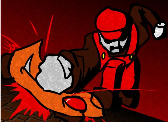 Mario smashing a mushroom, stylized ala Communist propaganda