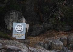 The sign for Smuggler's Cove. BC has tons of these provincial parks.