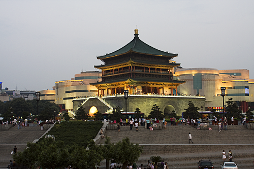 The Bell Tower in Xian lit up at sunset.