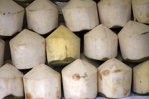 Stacked coconuts ready for drinking