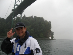Me going under the Lion's Gate Bridge
