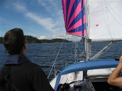 Mike flying the spinnaker through Thulin Passage