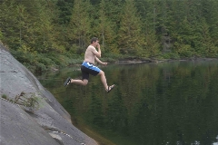 Mike jumping into Cassel Lake