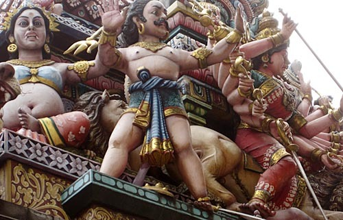 Frieze on Sri Veeramakaliamman Temple in Little India