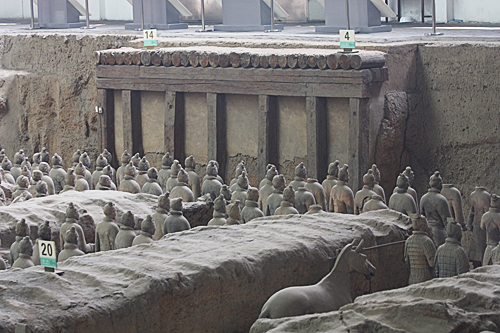 Six original doorways to the rooms holding the Terracotta warriors.