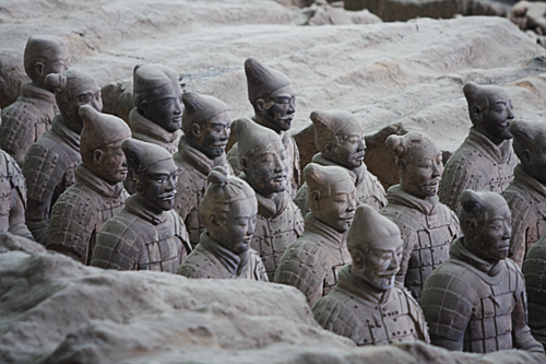 Close-up of a platoon of Terracotta soliders.