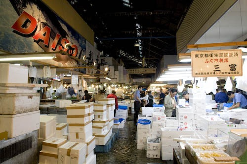 Maze of shops in the inner market at Tsukiji