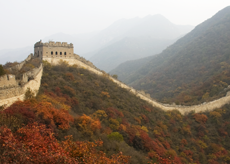 The Great Wall of China at Shuiguan in the fall.