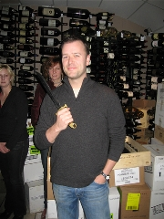 Eric with the saber, ready to open the sparkling wine.
