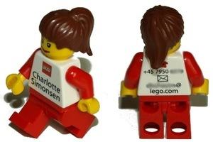 Lego business card on a mini-fig.