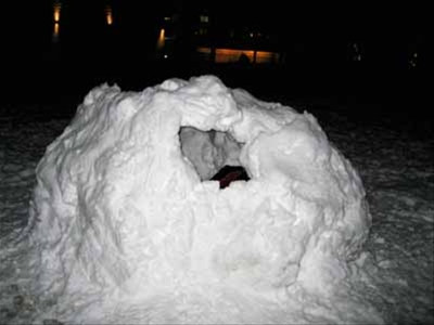 Our igloo, complete with window.