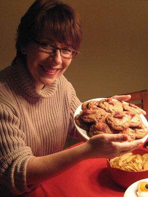 Leslie with yummy bacon-maple-chocolate chip cookies.