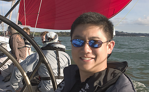 Tony sailing on an Americas Cup boat