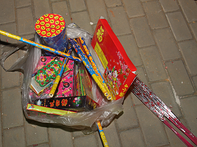 Our bag of fireworks.