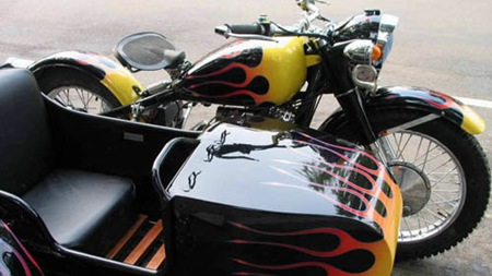 Black CJ750 with red and yellow flames