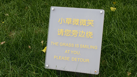 "Sign saying ""The grass is smiling at you. Please detour."""