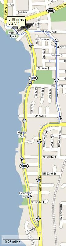 Pace Race 5K through Kirkland. Image generated by SportTracks and my Garmin Forerunner 301