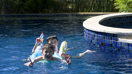 Andrew and Michael messing around in our pool at the Banyan Tree in Sanya.