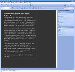 Screenshot of Windows Live Writer as I wrote this post