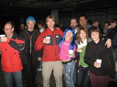 Marc, Alex (nice IE blue hair), Aaron, Katya (more blue hair), Jon, Kristen, Anurag, and Jane at the party.