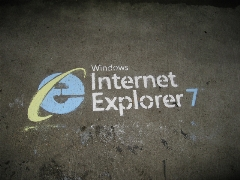 IE7 in sidewalk chalk