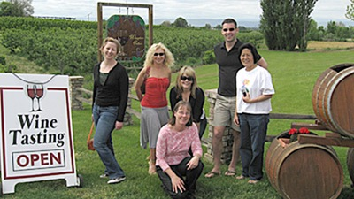 Kellie, Katya, Kristen, Christopher, and Barbi with Linda Lowe of Wineglass Cellars