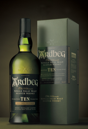 Ardbeg Ten Years Old whisky bottle