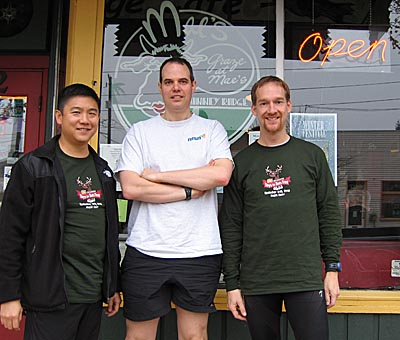 Tony, Will, and Bruce in front of Mae's Phinney Ridge Cafe