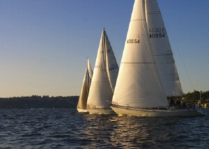 Boats at the start of the Anthony's Homeport Race