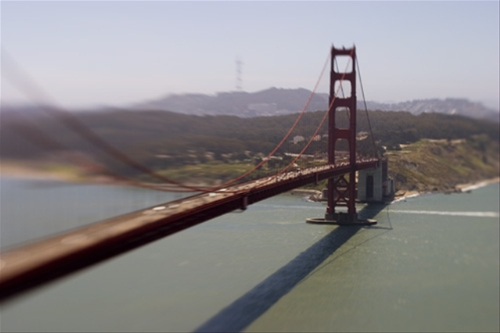 Lensbaby photo of the Golden Gate bridge from Battery Spencer.