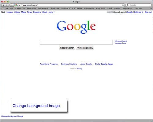 "Google homepage with ""Change background image"" link."