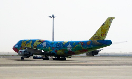 ANA 747 with Pokemon paint job