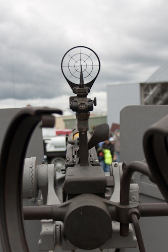 Looking through the gunsight of a 20mm AA gun