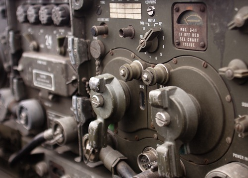 Close-up view of a WWII radio set